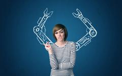 Robotic arms concept - stock photo