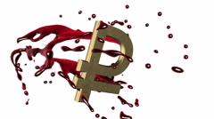 3d red-scarlet blood splash rotate around the symbol of  golden  ruble-rouble Stock Footage