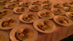 Plates with gastronomic food Stock Footage