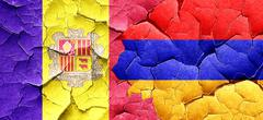 Andorra flag with Armenia flag on a grunge cracked wall - stock illustration