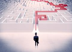 Maze solved for businessman concept Stock Photos