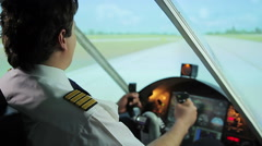 Successful takeoff from runway, pilot navigating aircraft, career in aviation Stock Footage