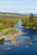 Pitlochry Scotland UK River Tummel popular tourist destination - stock photo
