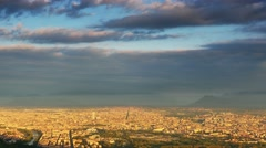 Aerial view of turin skyline at sunrise panning Stock Footage