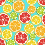 Colorful seamless pattern with lime, orange and grapefruit Stock Illustration