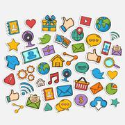 Mobile Apps Scrapbook Sticker Set Stock Illustration