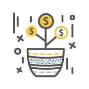 Money tree Growth in a pot - stock illustration
