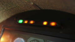 Fire alarm indicator blinking red on cockpit panel, emergency warning signal Stock Footage