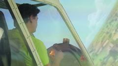 Man enjoying flight in aircraft simulator, pilot improving navigation skills Stock Footage
