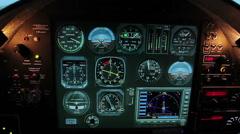 Normal flight indicators on aircraft cockpit panel, plane control system tools Stock Footage