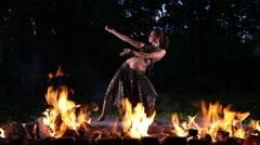 Pretty Woman Dance in Fire Stock Footage