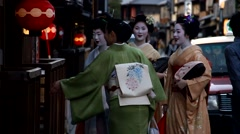 Several geishas are ready for ceremony Stock Footage