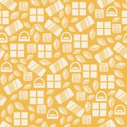 Seamless pattern with chocolate sweets isolated on yellow background - stock illustration