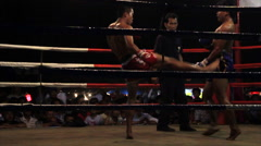 Muay Thai Boxing Fight Outdoor Ring Combat Sport Thailand - stock footage