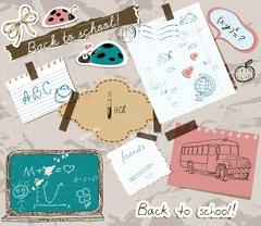 Scrapbooking set with school elements. Stock Illustration