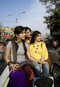 Girls on a rickshaw Stock Photos