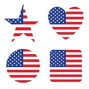 American United States Flag in form button of icon set Stock Illustration