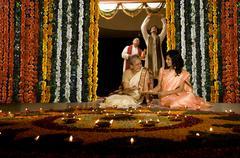 Family celebrating Diwali Stock Photos