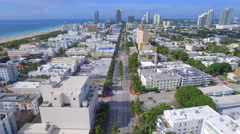 Aerial shot of Miami Beach Washington Avenue Stock Footage