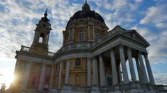 Basilica of superga at sunrise turin italy Stock Footage