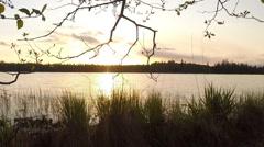 Minnesota Sunset Over Webster Lake Stock Footage