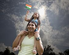 Father and child with the Indian Flag Stock Photos