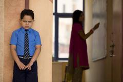 Punished school boy Stock Photos