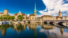 4K Timelapse of historic Zurich city center, Switzerland Stock Footage