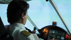 Aircraft flying into turbulence zone, pilot maneuvering plane, hazardous job Stock Footage