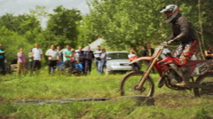 Cross-country racing on motorcycles. Slow motion Stock Footage