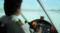 Confident plane captain successfully steering aircraft, takeoff from runway Stock Footage