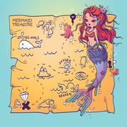 A Mermaid and Treasure Map Stock Illustration