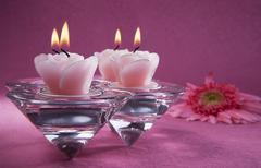 Decorative pink candles Stock Photos
