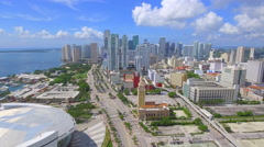 Downtown Miami aerial helicopter tour 4k Stock Footage