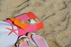 Beach Accessorize on Sandy Beach Stock Photos