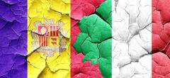 Andorra flag with Italy flag on a grunge cracked wall Stock Illustration