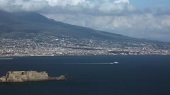 Naples bay with castle Stock Footage