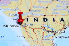Mumbai pinned on a map of India - stock photo