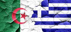 Algeria flag with Greece flag on a grunge cracked wall Stock Illustration