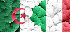 Algeria flag with Italy flag on a grunge cracked wall Stock Illustration