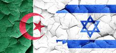 Algeria flag with Israel flag on a grunge cracked wall Stock Illustration