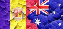 Andorra flag with Australia flag on a grunge cracked wall Stock Illustration