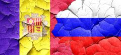 Andorra flag with Russia flag on a grunge cracked wall - stock illustration
