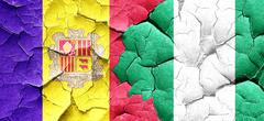 Andorra flag with Nigeria flag on a grunge cracked wall Stock Illustration