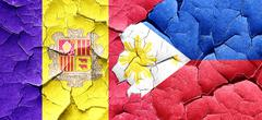Andorra flag with Philippines flag on a grunge cracked wall - stock illustration