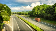 Landscape with highway at sunny summer day. Timelapse, 4k Stock Footage