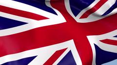 United Kingdom Waving Flag Background Loop Stock Footage