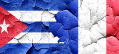 Cuba flag with France flag on a grunge cracked wall - stock illustration