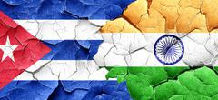 Cuba flag with India flag on a grunge cracked wall - stock illustration