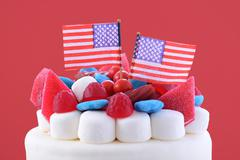 Happy Fourth of July celebration cake. - stock photo